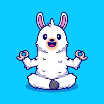 Cute alpaca doing yoga cartoon icon illustration.