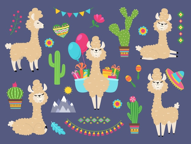 Cute alpaca. funny cartoon llama, peru  lamas and cacti flowers. wild alpacas animals characters