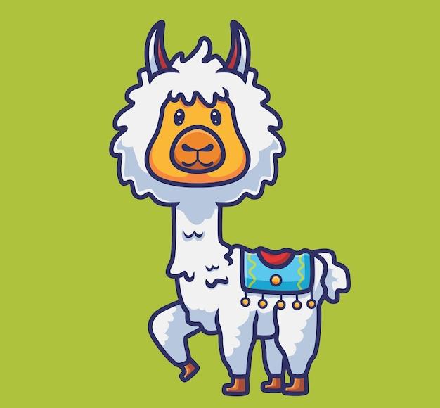 かわいいアルパカ幸せ。漫画の動物の性質の概念孤立したイラスト。ステッカーアイコンデザインプレミアムロゴベクトルに適したフラットスタイル。マスコットキャラクター