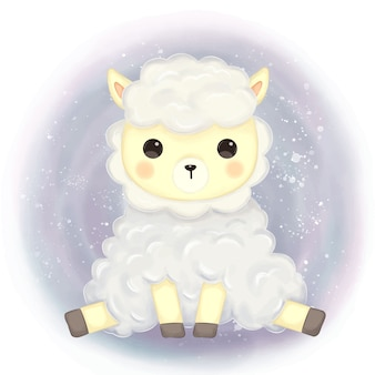 Cute alpaca illustration for decoration