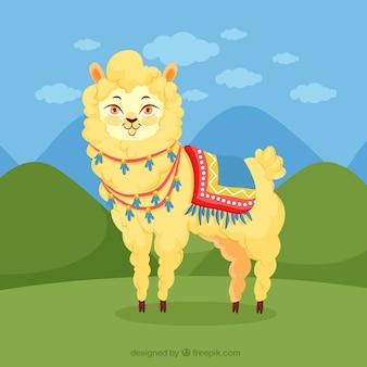 Cute alpaca in landscape