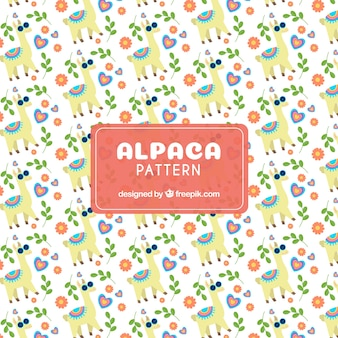 Cute alpaca pattern with elements