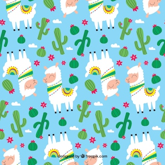 Cute alpaca pattern with plants