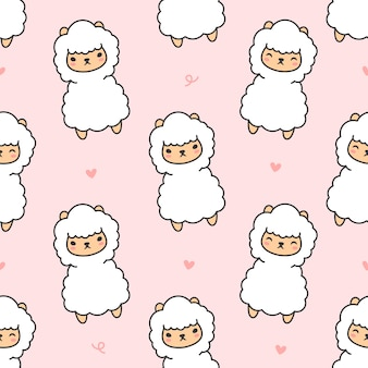 Cute alpaca seamless pattern background