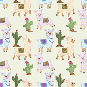 Cute alpaca seamless pattern