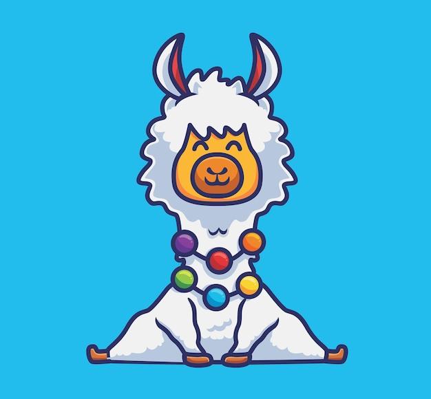 カラフルなネックレスと一緒に座っているかわいいアルパカ。漫画の動物の性質の概念孤立したイラスト。ステッカーアイコンデザインプレミアムロゴベクトルに適したフラットスタイル。マスコットキャラクター
