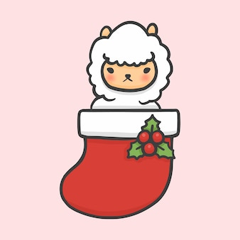 Cute alpaca in sock christmas hand drawn cartoon style vector
