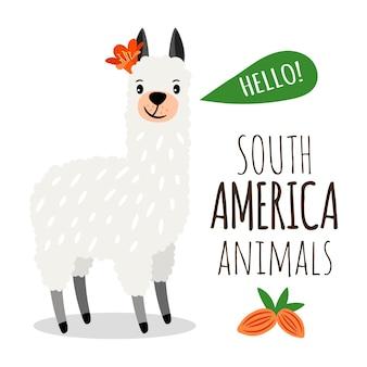 かわいいアルパカ。花のイラストと南アメリカのラマ