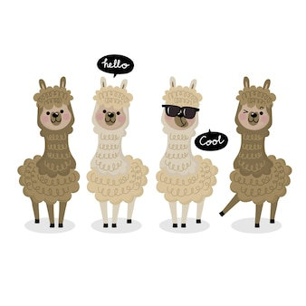 Cute alpaca vector.