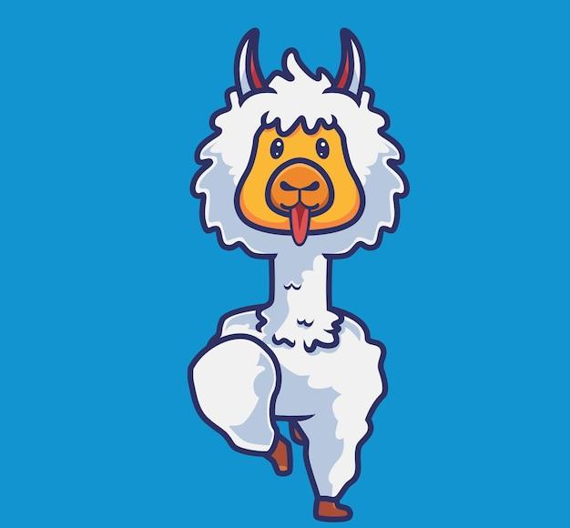 かわいいアルパカウォーキング。漫画の動物の性質の概念孤立したイラスト。ステッカーアイコンデザインプレミアムロゴベクトルに適したフラットスタイル。マスコットキャラクター