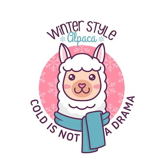 Cute alpaca winter illustration