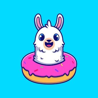 デザート漫画アイコンイラストとかわいいアルパカ。分離された動物食品アイコンの概念。フラット漫画スタイル
