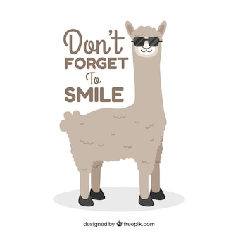 Cute alpaca with phrase