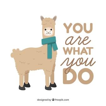 Cute alpaca with phrase