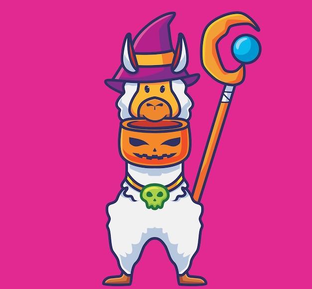 호박 그릇을 들고 있는 귀여운 알파카 마법사. 만화 동물 할로윈 이벤트 개념 격리 된 그림입니다. 스티커 아이콘 디자인 프리미엄 로고 벡터에 적합한 플랫 스타일. 마스코트 캐릭터