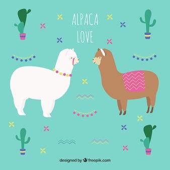Cute alpacas background with cactus
