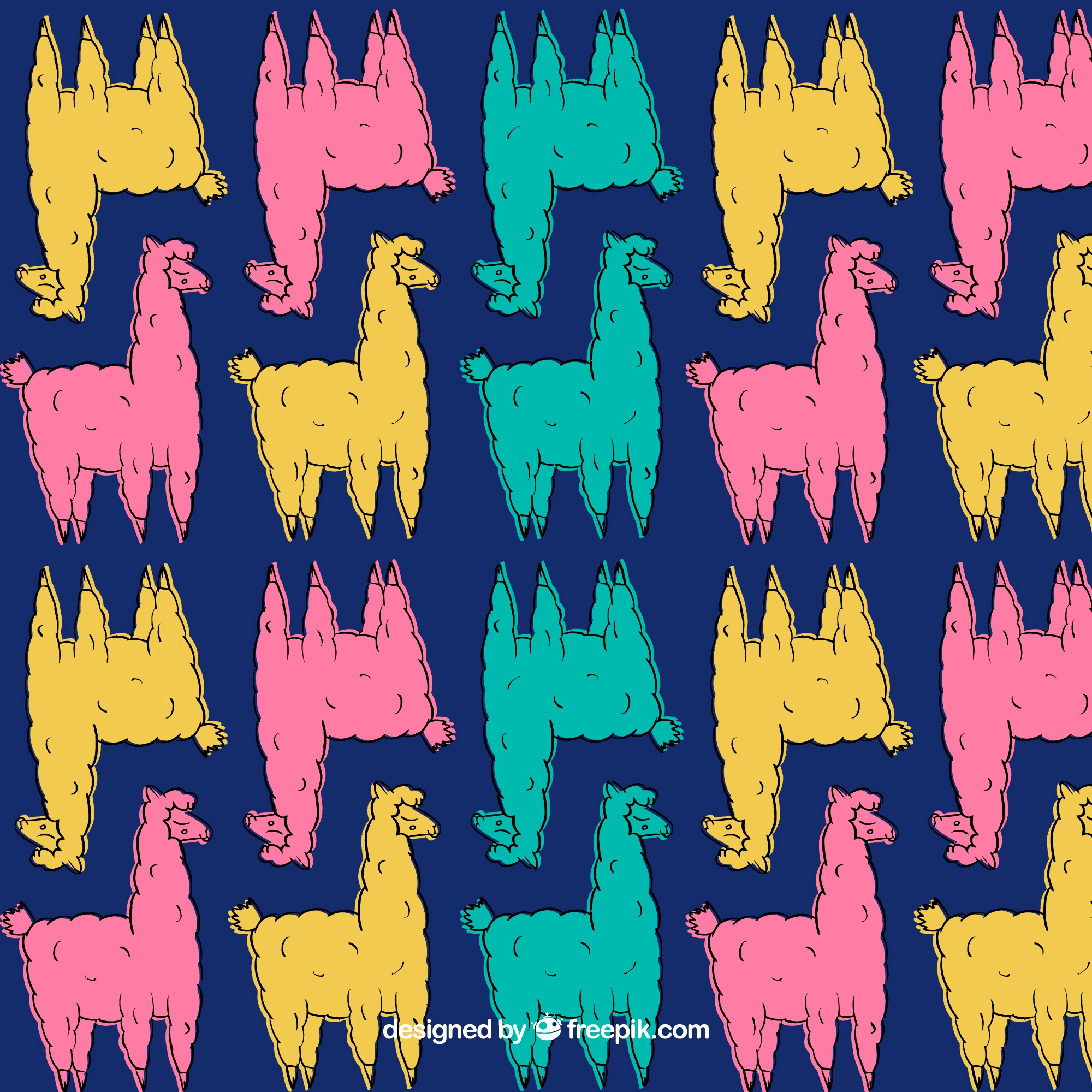 Cute alpacas pattern in different colors