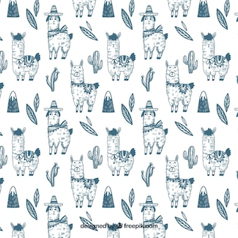 Cute alpacas pattern in hand drawn style
