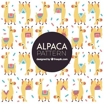 Cute alpacas pattern in hand drawn style