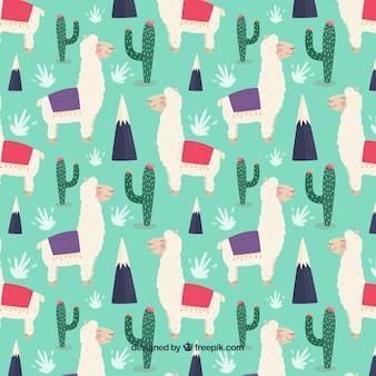 선인장과 귀여운 알파카 패턴