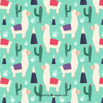 Cute alpacas pattern with cactus