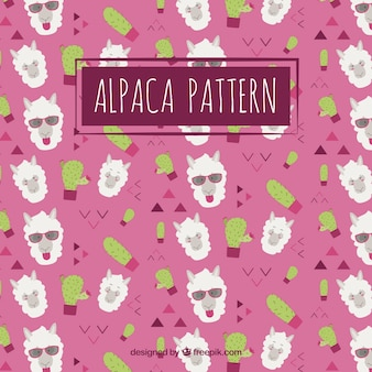 Cute alpacas pattern with nature