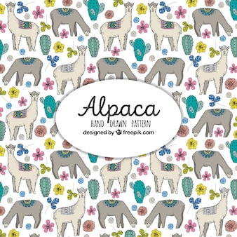 Cute alpacas pattern with plants