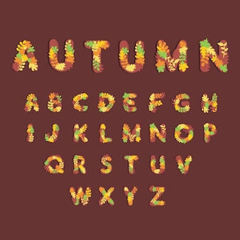 Cute alphabet for autumn seasons on banner, website or poster template