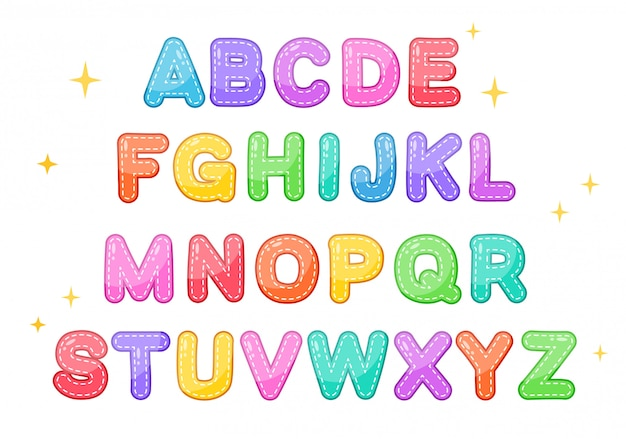 Cute alphabet character set for kids study