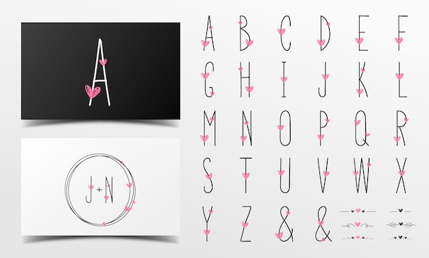 Alfabeto carino in stile scritto a mano decorato con cuore rosa.