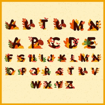 Cute alphabet pattern or background with leaves, flowers, mushrooms and walnuts decoration for autumn season