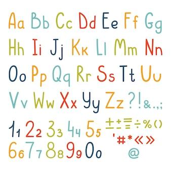 간단한 필기 문자, 숫자 및 구두점 기호의 귀여운 알파벳 세트. 프리미엄 벡터