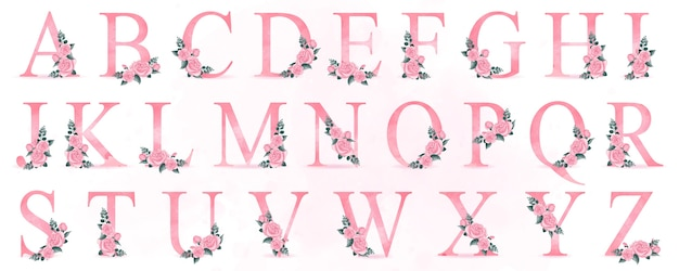 Cute alphabet with roses illustration