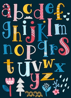 Cute  alphabet with swirls  isolated on background for text