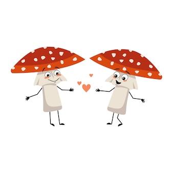 愛情、笑顔、腕と脚のかわいいテングタケ属のキャラクター。優しい表情で森からベニテングタケを飛ばす