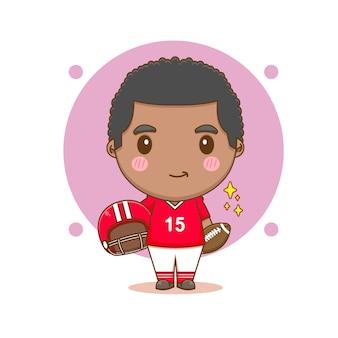Cute american football player chibi cartoon character illustration