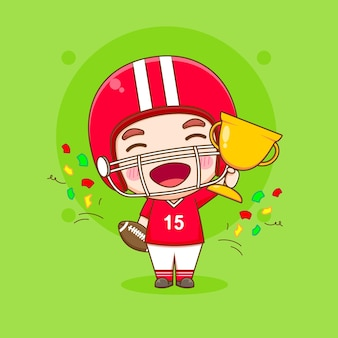 Cute american football player holding gold trophy chibi character illustration