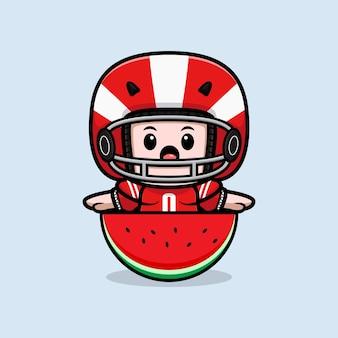 Cute american football player holding watermelon mascot illustration