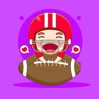 Cute american football player hugs big rugby ball chibi cartoon character illustration