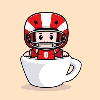 Симпатичный американский футболист внутри чашки талисмана иллюстрации
