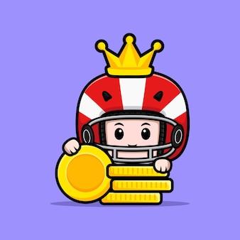 Cute american football player king mascot illustration
