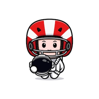 Cute american football player ready to moon mascot illustration