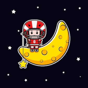 Cute american football player sitting on moon and catching star mascot illustration
