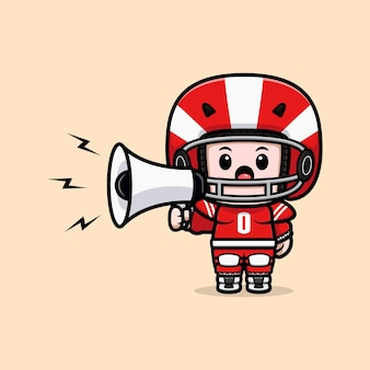 Cute american football player speaking on megaphone mascot illustration