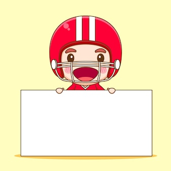 Cute american football player with empty board chibi cartoon character illustration