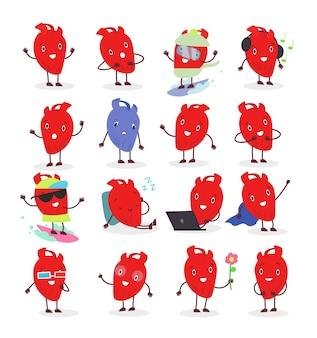 Симпатичный анатомический персонаж сердца в разных позициях и эмоциональном. сердце смайлик