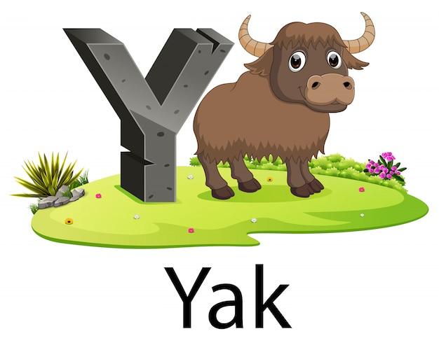 Cute ancient animals alphabet y