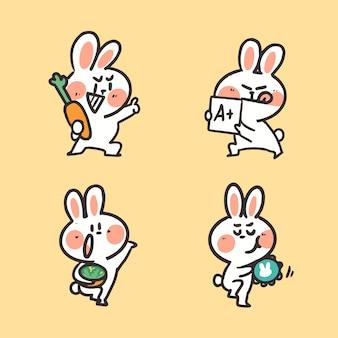 キュートでアクティブな若いウサギの落書きイラスト