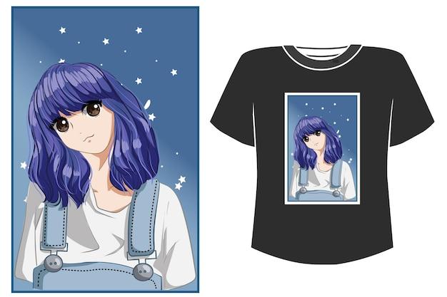 Милая и красивая девушка фиолетовые волосы карикатура иллюстрации Premium векторы