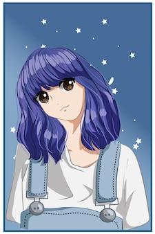 キュートで美しい女の子の短い紫の髪の漫画イラスト